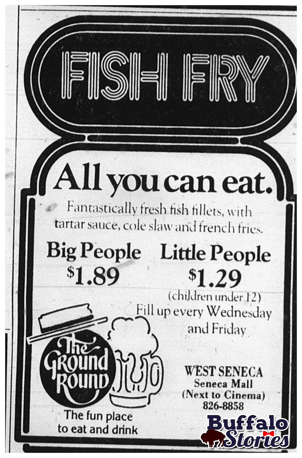 Ground round buffalo stories archives blog for All you can eat fish fry