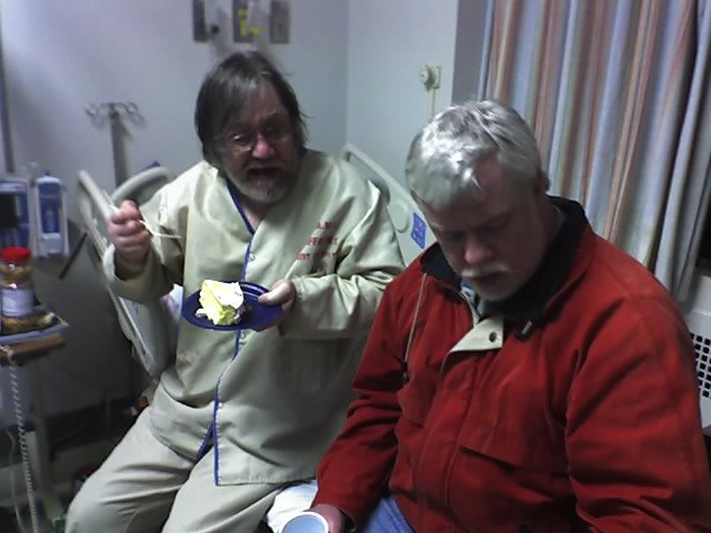Dad and Uncle Ed, Dec. 10, 2007. He may have been celebrating it at the VA, but he still loved his birthday.