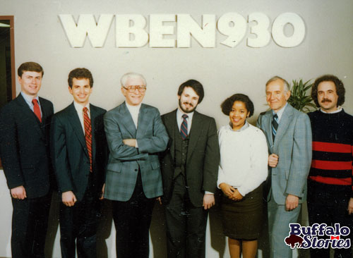 Lou with the WBEN newsteam of the mid 1980s.