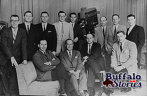 WBEN's staff announcers of the late 1950s. Douglas is second from the left, standing between Jack Ogilvie and Van Miller.