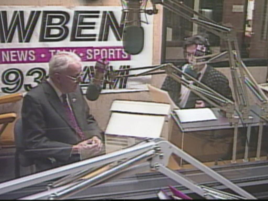 WBEN's Newsday at Noon host George Richert interviews Broadcasting legend Ralph Hubbell, 1997.