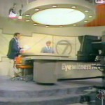 Irv and Don Postles on the news set at Channel 7