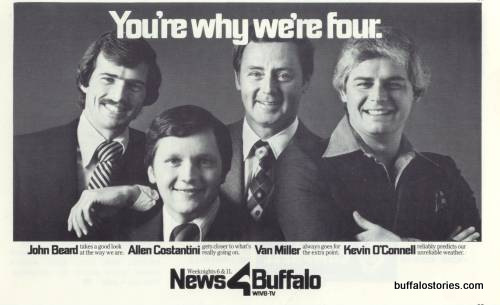 John Beard, Allen Costantini, Van Miller, Kevin O'Connell. The hip dudes of Channel 4 in the late 70s.