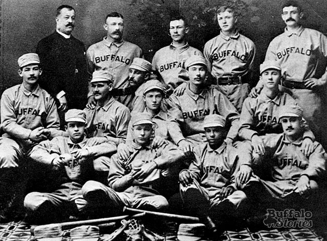 One of very few known photos of Frank Grant comes from the Bisons' 1887 team photo. The following year, his teammates refused to sit with him for the portrait. (Buffalo Stories archives)