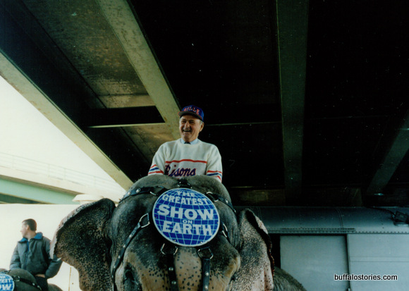 He was also a natural on an elephant, leading the circus parade into the Aud.