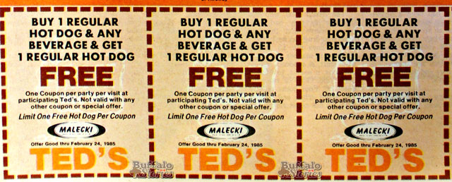 Ted's served Malecki's hot dogs until the day the Malecki plant closed down in 1988. (Buffalo Stories archives)