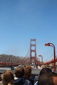 The bridge was half foggy, half not.