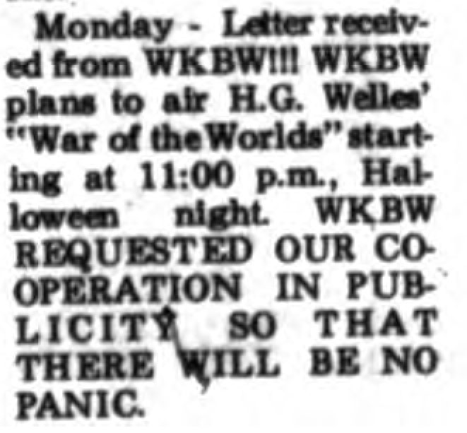 "This blurb appeared in a Geneseo newspaper during the week leading up to Halloween in 1968. The masterful promotional folks at KB knew that by sending out this warning--with hope of it being published, that people would flock to hear, as Jeff Kaye puts it in the intro to the 1971 version of the dramatization, ""what all the hubhub was about."" It's the 1960's version of ""don't click on this link."" (Buffalo Stories Photo)"