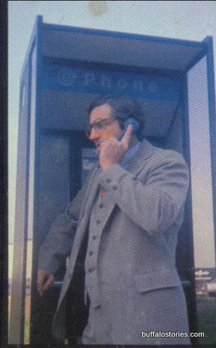 The mysterious investigative reporter John Pauly at a Buffalo phone booth