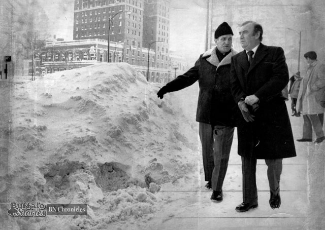 Makowski with Governor Carey after the Blizzard of '77. Buffalo News archives