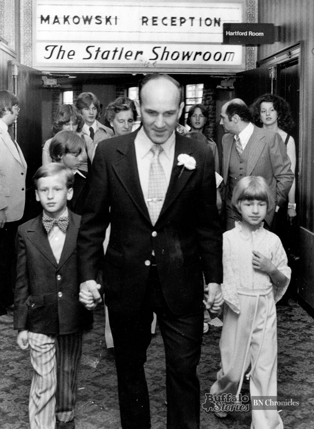 Mayor Makowski with his two youngest children at a Hotel Statler fundraiser, 1977. Buffalo News archives