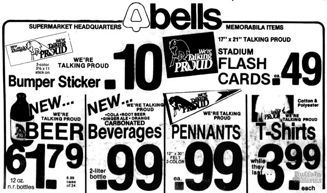 Bells Markets became a clearing house for many Talking Proud logo items. (Buffalo Stories archives)
