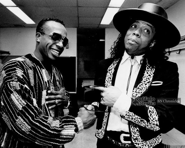 MC Hammer and Rick James stop feuding, and meet before Hammers concert at The Aud, 1990. The two battled after Hammers hit U Cant Touch This sampled music from James hit Super Freak. (Buffalo News archives.)