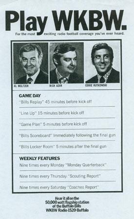 Al Meltzer, Rick Azar, Ed Rutkowski. Bills Football on WKBW