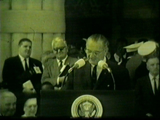 President Lyndon Johnson on the steps of Buffalo City Hall