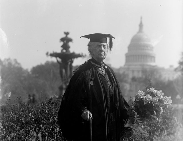 Belva Lockwood poses in front of the US Capitol, 1915. Library of Congress.