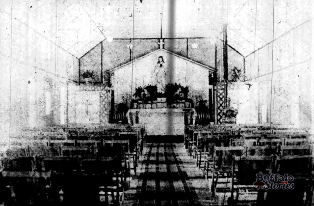 Interior of the temporary St. Margarets Church. 1917. Buffalo Stories archives.