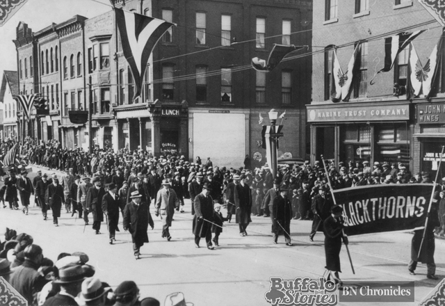 the St. Patrick's Day parade at the same Elk and Louisiana intersection, in 1925. Buffalo Stories archives