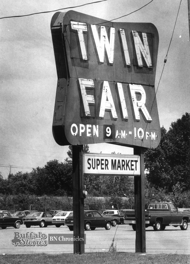 The sign from the Elmwood Avenue Twin Fair, now home to a plaza which includes Tops and PetSmart..