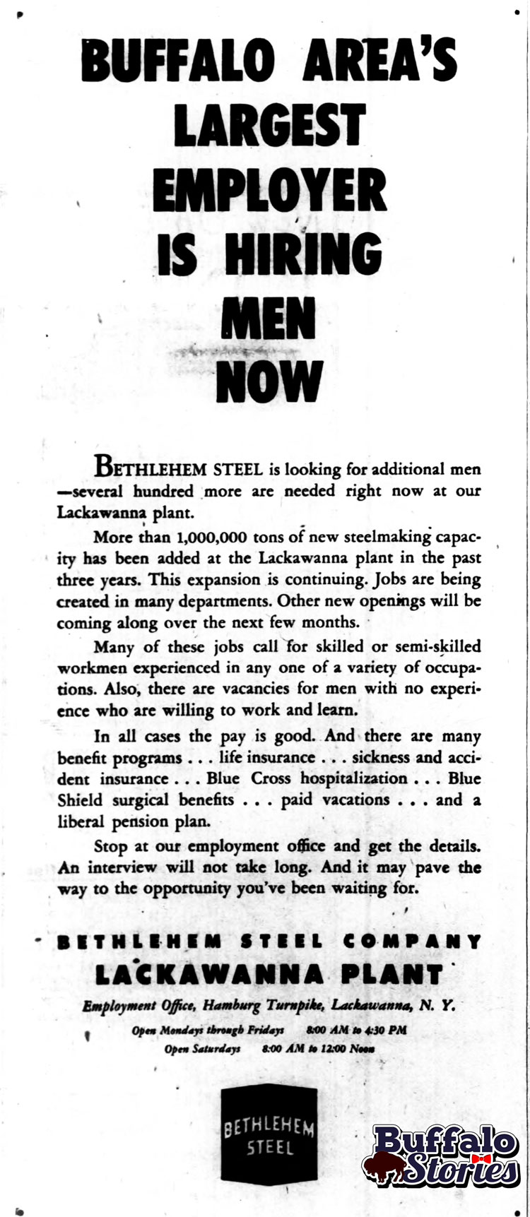 Bethlehem Steel ad, 1953 (Buffalo Stories archives)