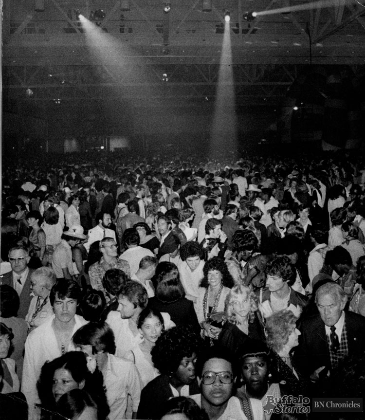 The crowd was into the music at the Worlds Largest Disco at the Buffalo Convention Center in 1979.