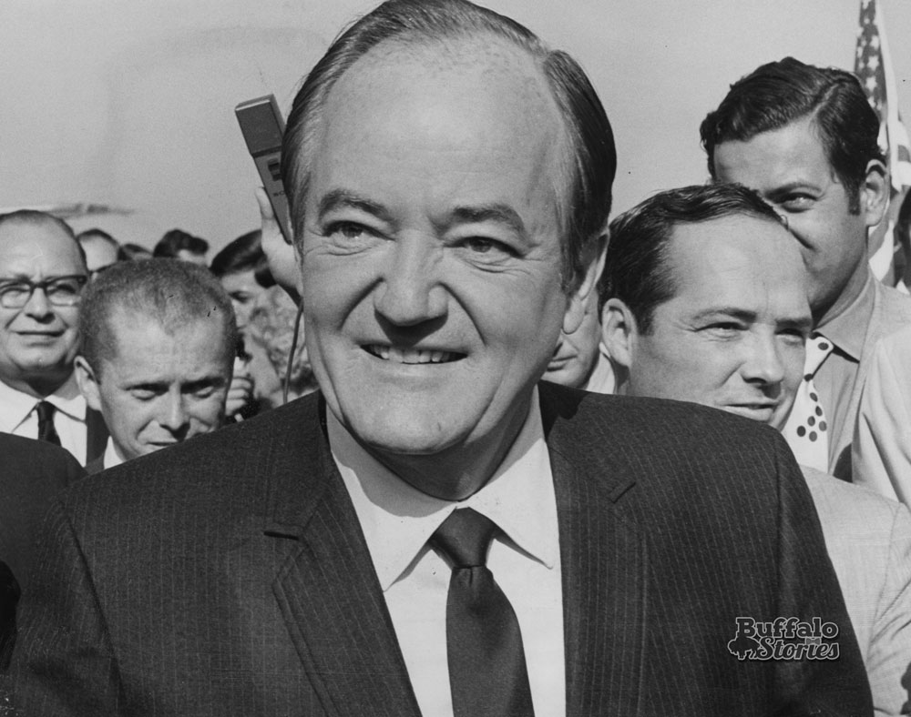 Congressman Thaddeus Dulski, Jim Fagan, Viced President Hubert Humphrey,  and EC Dem Chair Joe Crangle. 1968.