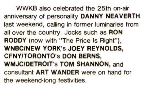 coverage in Radio & Records magazine... I think they meant Rod Roddy.