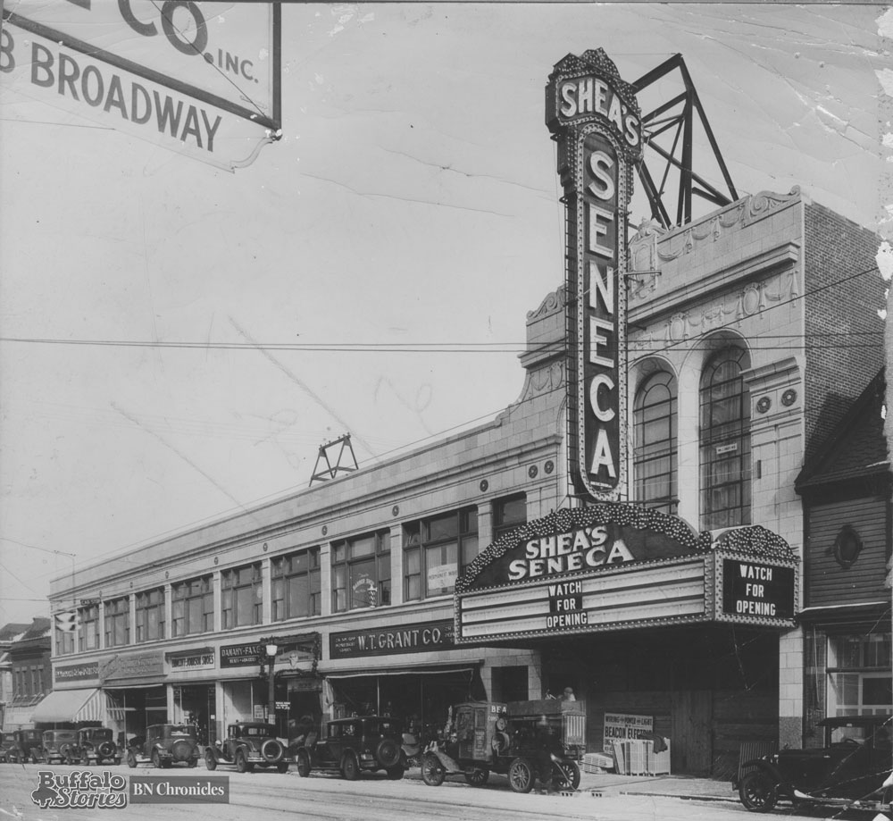 The now gone Sheas Seneca marquee was 61 feet high, was make of 6,000 bulbs, and used enough electricity to light 75 homes.