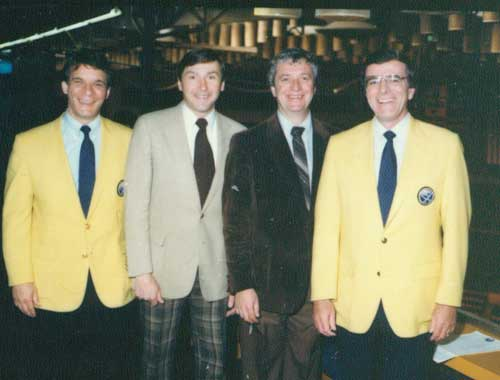 Sabres broadcast crew, Mid-80s, in the Memorial Auditorium Press Box. Mike Robitaille, Jim Lorentz, Rick Jeanneret, Ted Darling