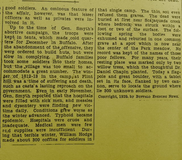 Portion of 1929 Buffalo Evening News article relevant to Mound in the Meadow, accompanied photo above From the Patrick Kavanagh Collection