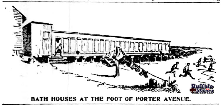 Buffalo had two public baths in 1895. They were at the foot of S. Michigan Avenue, along the lakeshore close to the General Mills complex, and at the foot of Porter Avenue, near the Buffalo Yacht Club.