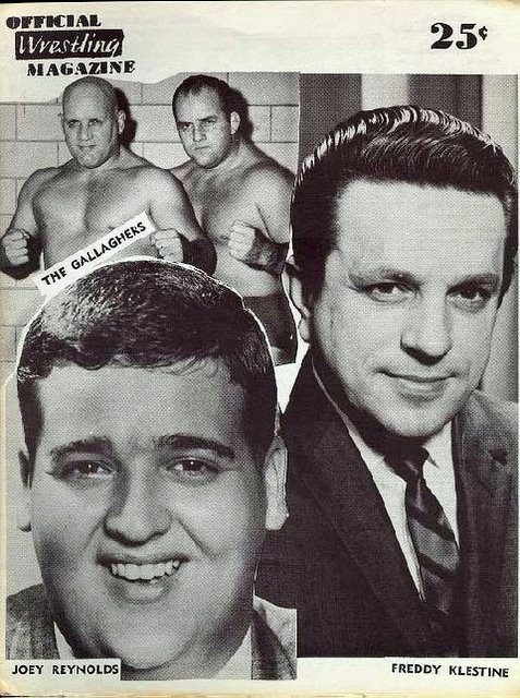 Program from the night Joey Reynolds and Fred Klestine wrestled the Gallagher Brothers at Memorial Auditorium.,