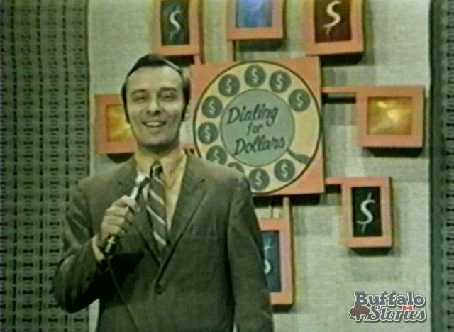 Nolan Johannes on the set of Dialing for Dollars, inside WKBW-TVs Main Street studios. (Buffalo Stories archives)