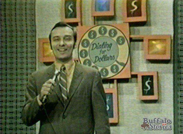 Nolan Johannes on the set of Dialing for Dollars, inside WKBW-TVs Main Street studios. (Buffalo Stories archives)