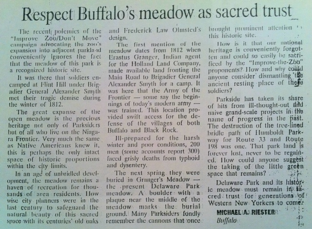 Michael Riester op-ed piece on the Mound in Meadow, with the possibility of moving or expanding the Buffalo Zoo as a back drop. Buffalo News, 1999.