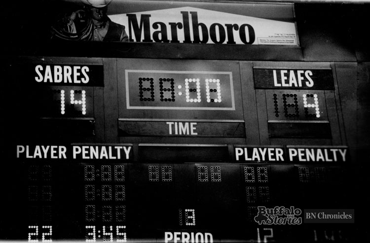The score after two periods at Memorial Auditorium. Torontos three goals combined for the most ever scored in an NHL game.