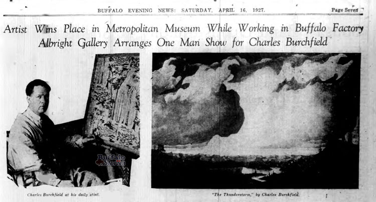 Early coverage of Burchfield in The Buffalo Evening News (Buffalo Stories archives)