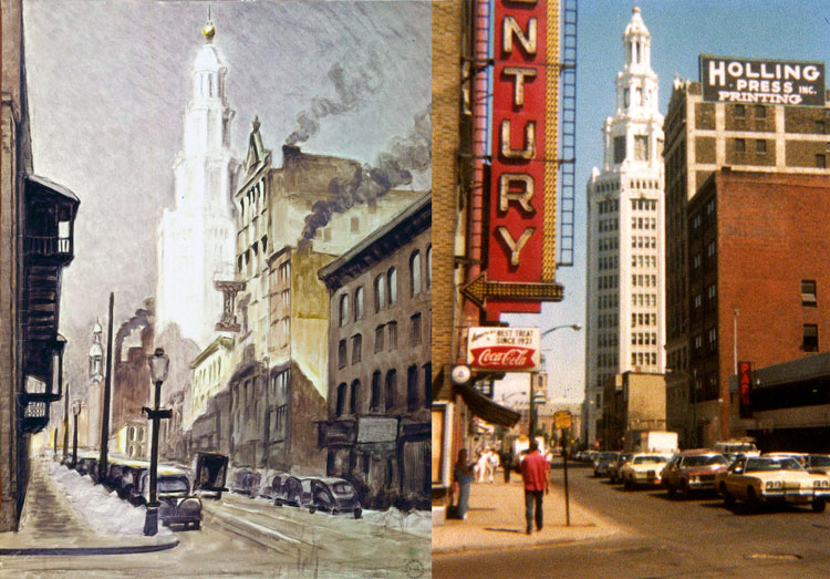 Burchfield called the Electric Building one of the finest buildings in Buffalo or anywhere. He painted Buildings and Street Scene in 1940. James Vullo photographed the area in the mid-70s, including the marquee sign pointing to the entrance of the Century Theater around the corner on Main Street. (Charles E. Burchfield Archives)