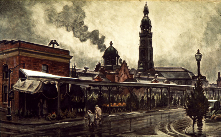 The Market at Christmas Time (1929-41), shows the old Chippewa Market with St. Michaels in the distance. While St. Michaels still stands, the building was heavily damaged in a 1954 fire. (Charles E. Burchfield Archives)
