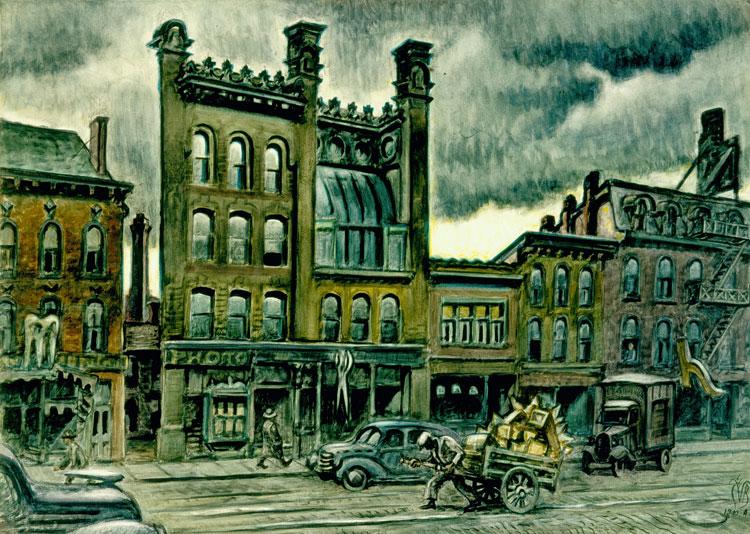 Street Scene, 1940-47. Below, James Vullo's photo of the Genesee Street building.