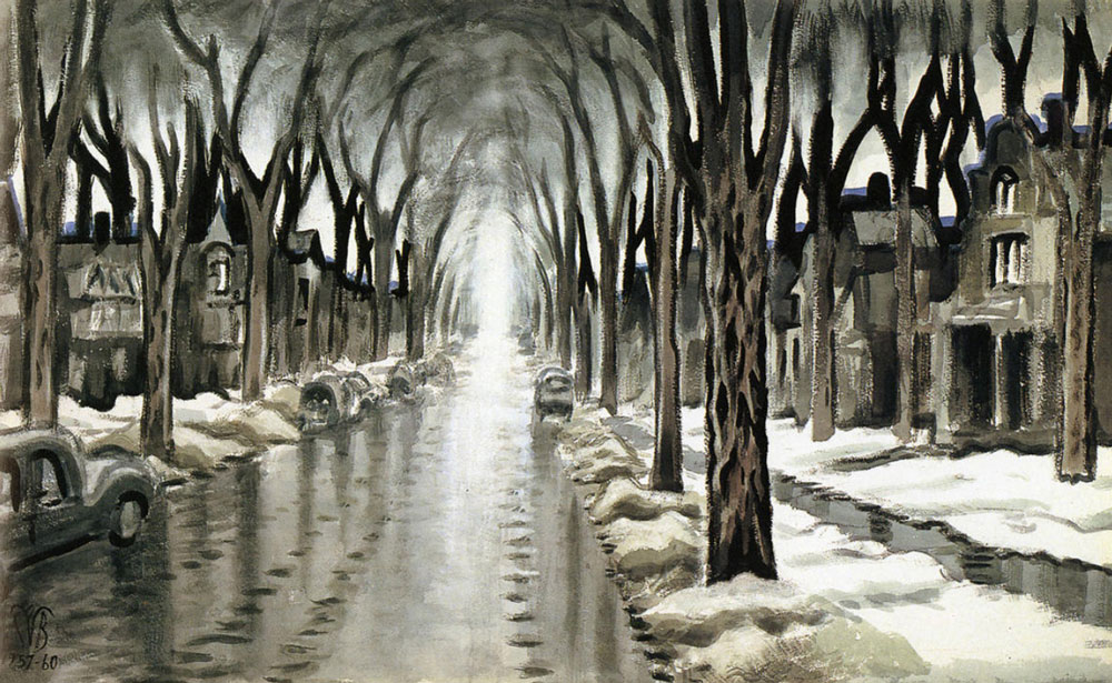 Burchfields Street Vista in Winter, 1957-60. (Charles E. Burchfield Archives) Below: Todays view up Linwood Avenue between Summer and Barker.