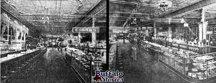 Two views of the Stoddart Bros. soda fountain, c.1902. Buffalo Stories archives