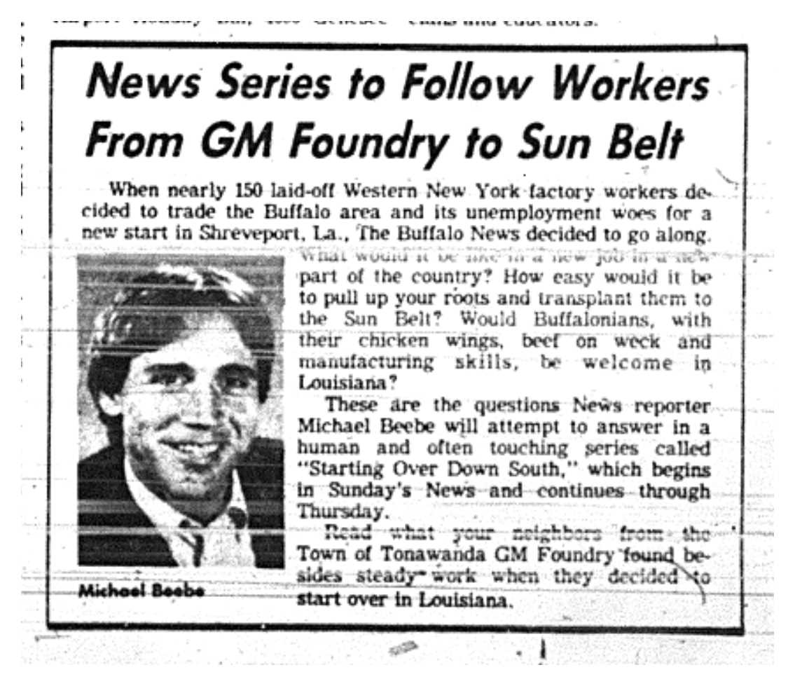 Buffalo in the 80s laid off gm workers starting over for General motors shreveport jobs