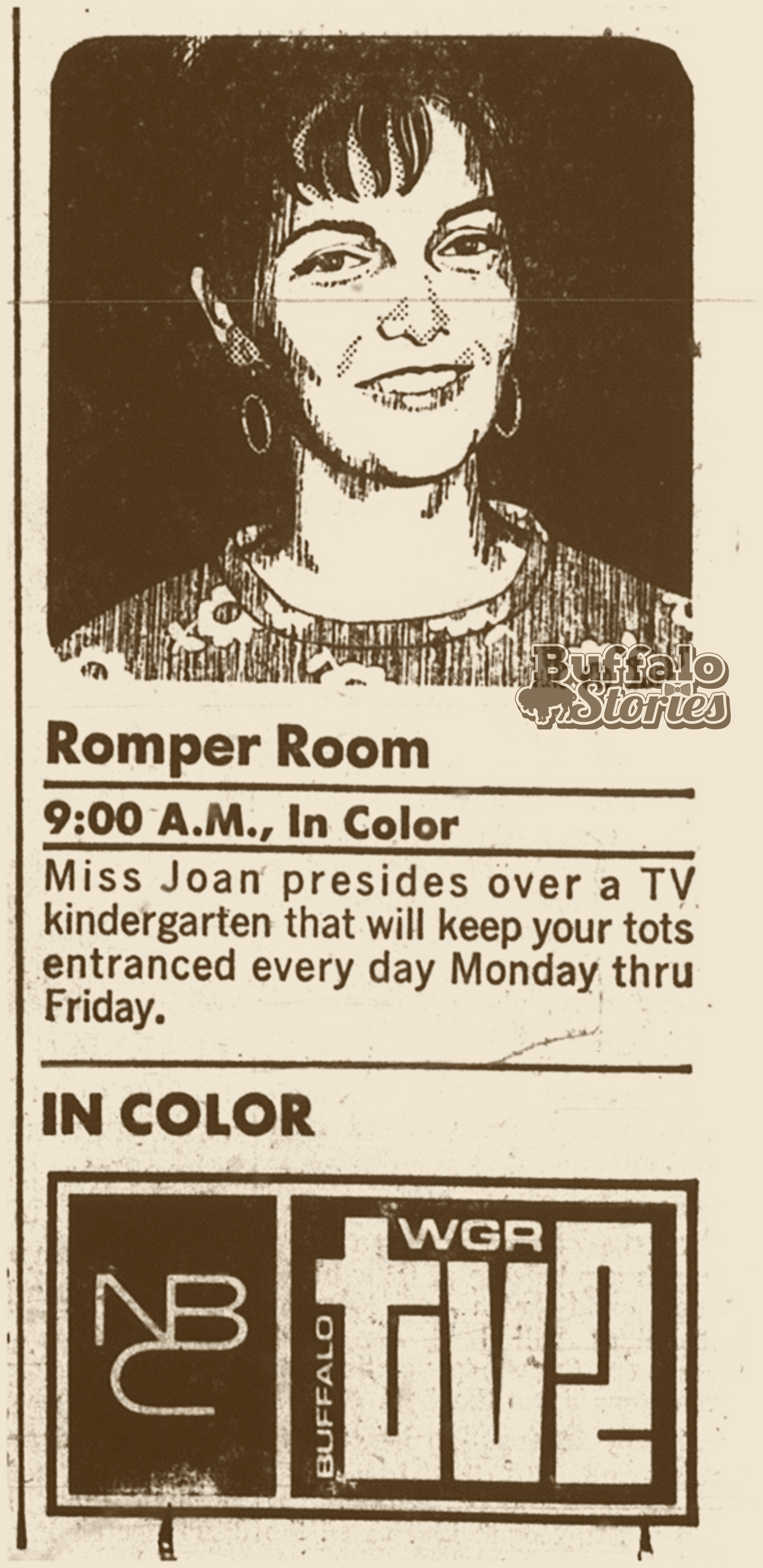 Buffalos pop culture heritage buffalo stories archives blog a 1969 ad for romper room on ch2 this show was produced in new york city spiritdancerdesigns Image collections